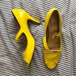 J.Crew Patent Heels Yellow 10